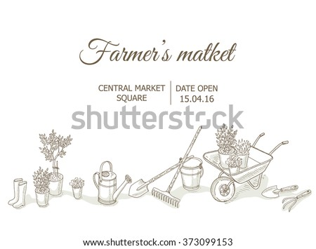 Farmers market background. Garden equipment: shovel, rake, watering can, bucket, flowers. Farm shop background with gardening tools. Gardening, farming and agriculture hand drawn vector illustrations - stock vector