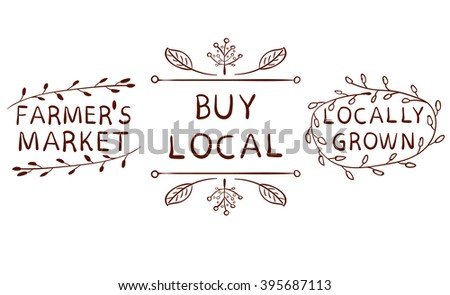 Farmers market, buy local, locally grown signs. Typography hand drawn VECTOR brown elements isolated on white. Brown lines. - stock vector