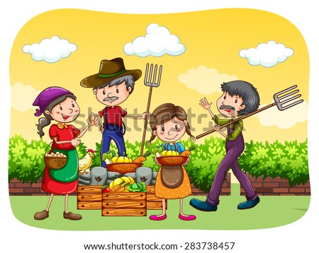 Farmers selling organic products along the street - stock vector