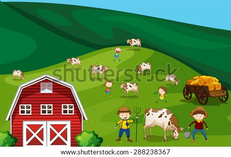 Farmers working in the farmland with cows - stock vector