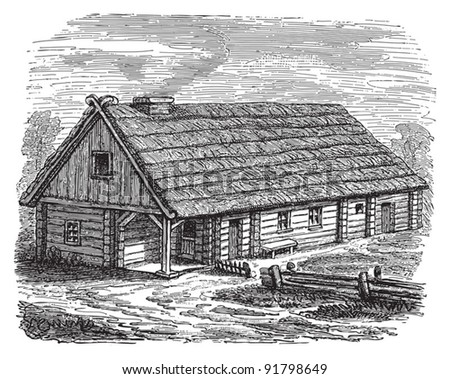 Farmhouse (Hinterpommern) / illustration from Meyers Konversations-Lexikon 1897 - stock vector