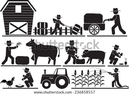 Farming and Agriculture Icons - stock vector