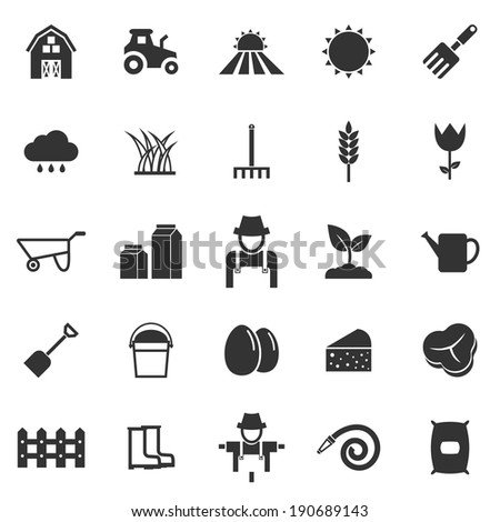 Farming icons on white background, stock vector - stock vector