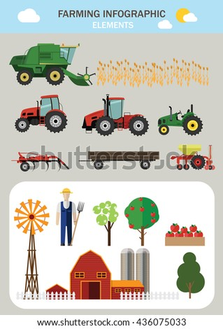 Farming infographic elements. Flat design. Vector illustration. - stock vector