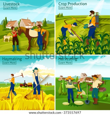Farming 2x2 design concept with farmers busy in livestock crop haymaking harvesting flat vector illustration   - stock vector