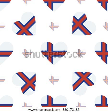 Faroe Islands flag heart seamless pattern. Patriotic Faroe Islands flag background. Country flag in the shape of heart. Vector seamless pattern. - stock vector