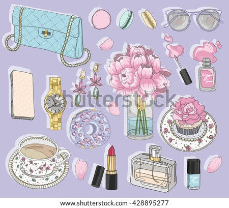 Fashion accessories set. Background with bag, sunglasses, jewelery, makeup, tea, coffee and flowers. Vector fashion illustration. - stock vector