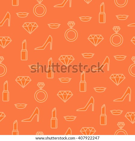 Fashion and makeup seamless pattern with line icons on orange background. Pattern with diamonds, lips, shoes, lipsticks, wedding rings and high heels. Fashion and beauty pattern. - stock vector