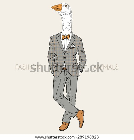 fashion animal illustration, anthropomorphic design, furry art, hand drawn illustration of goose dressed up in tweed suit - stock vector