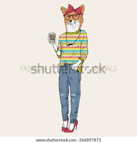 fashion animal illustration, fox girl hipster drinking coffee, character design - stock vector