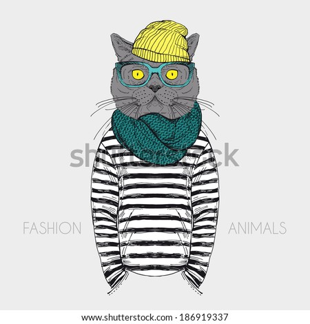 fashion anthropomorphic character of cat dressed up in urban style - stock vector