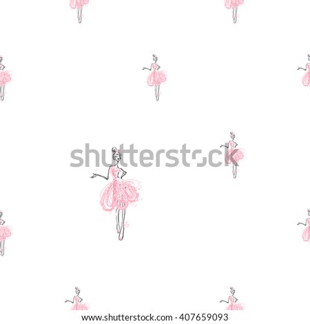 Fashion attractive fashion wedding background with pink dress. Beautiful hand drawn sketch on white background. Fashion, style, beauty, advertising greeting card, banner, design - stock vector