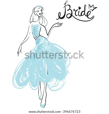 Fashion attractive fashion wedding invitation card with sign bride, blue bride dress. Beautiful hand drawn sketch on white background. Fashion style, beauty, advertising greeting card, banner, design - stock vector