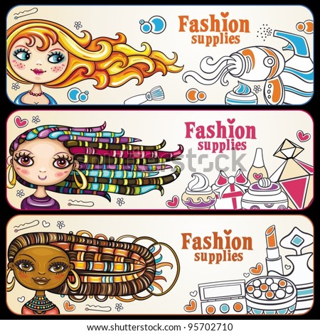 Fashion banner. shopping girls. Vector, horizontal banners with copyspace. beautiful, young women with lots of makeup. - stock vector