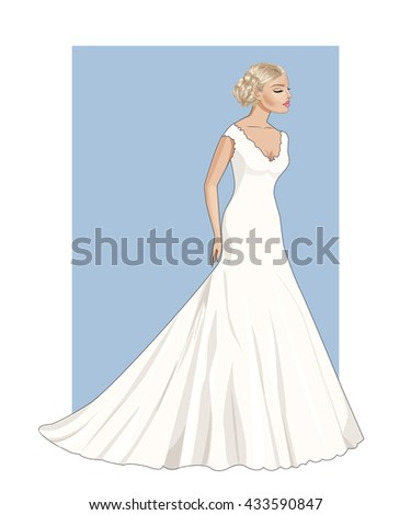 Fashion beautiful  blonde bride with closed eyes in stylish wedding dress,vector - stock vector