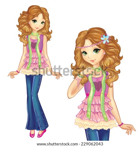 fashion beautiful stylishly dressed girl with curls hair - stock vector