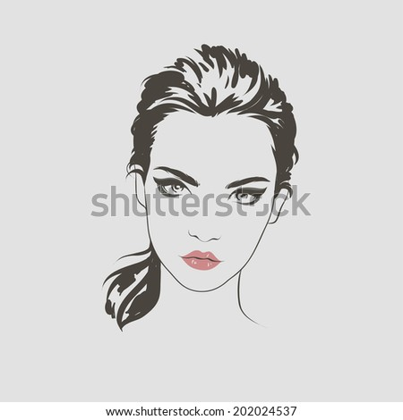 Fashion beautiful woman face, hand drawn line vector illustration. - stock vector