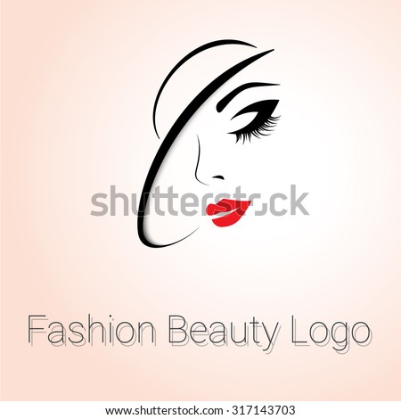 Fashion Beauty Logo. Woman with Hat - stock vector