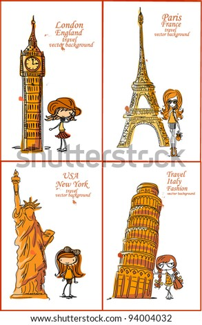 Fashion Cartoon Girl travels the world, vector background - stock vector