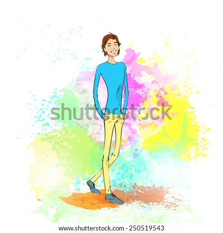 fashion casual young man over colorful paint splash background vector illustration - stock vector