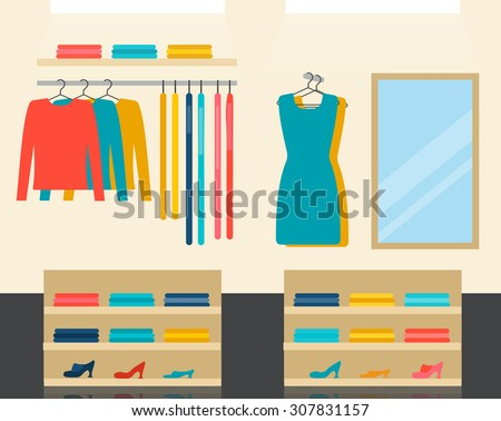 Fashion clothes store interior, vector illustration - stock vector