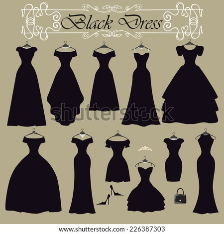 Fashion composition.Black party dress in Different styles .Silhouette of dresses  in modern flat vector style.Set with handbag,high heel shoes,swirling frame.Vintage,retro Illustration,background - stock vector