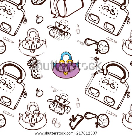 fashion creative background with outline colorful woman handbags - stock vector