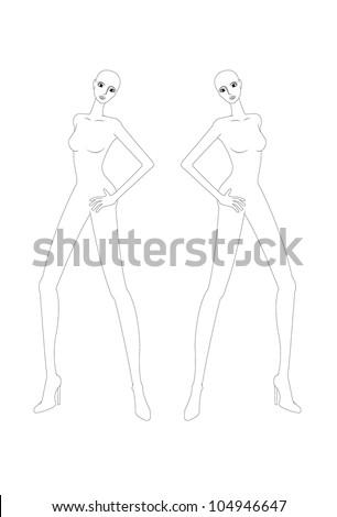 fashion croquis, fashion figure, fashion model template - stock vector