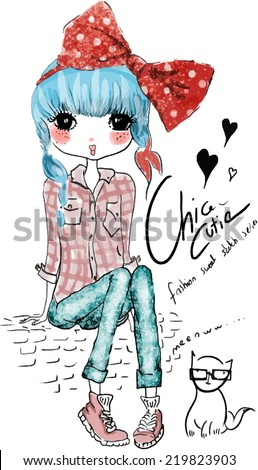 fashion cute girl with cat - stock vector