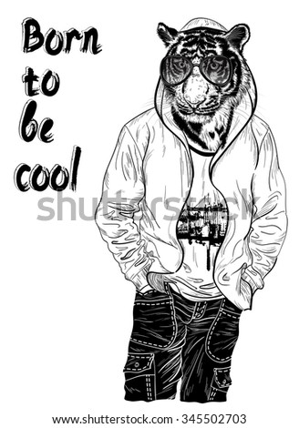 Fashion design with man with the head of tiger for poster or t-shirt print (black and white) - stock vector