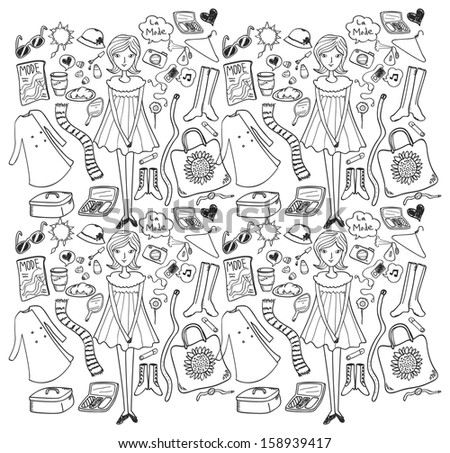 fashion doodle seamless background - stock vector