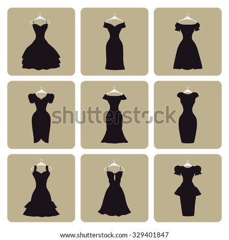 Fashion dress. Flat icons signs. Different styles of little black party dresses, Silhouette set. Composition in modern vector style Illustration - stock vector