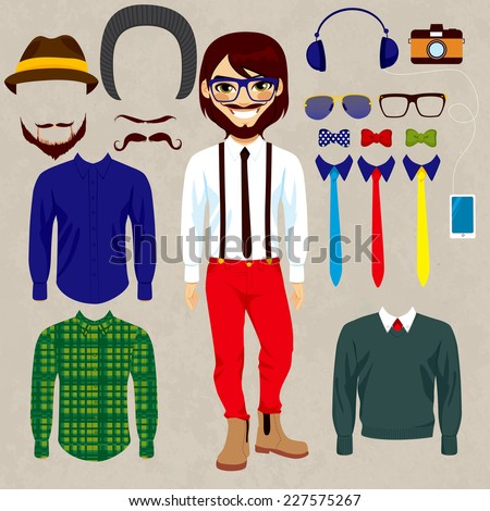 Fashion dress up doll man with hipster style clothes, camera, accessories, hats and mustaches to combine - stock vector