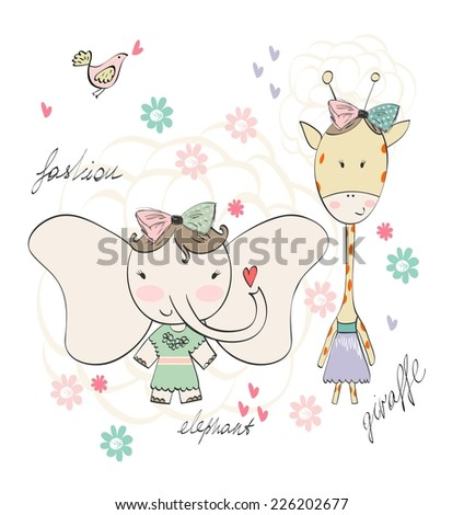 Fashion elephant and giraffe. Vector hand drawn illustration - stock vector