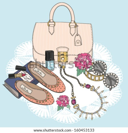 Fashion essentials.  Background with bag, sunglasses, shoes, jewelery, makeup and flowers. - stock vector