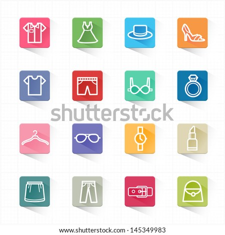 Fashion  flat icons set and white background - stock vector