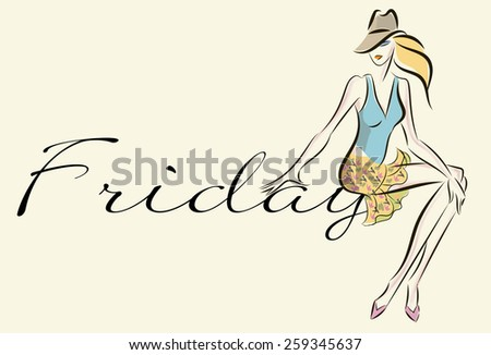 Fashion girl hand drawn illustration Background with model - stock vector