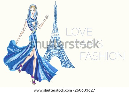 Fashion girl hand drawn illustration Background with model and Eiffel Tower - stock vector
