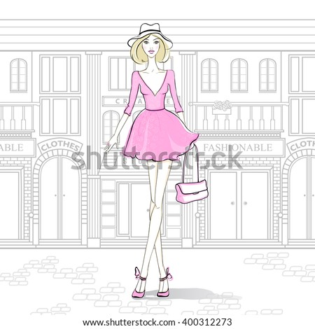 Fashion girl on the streets of Paris, walking to the shops. Young woman from New York City goes shopping. Beautiful model walks around the city. Lady in pink dress. - stock vector