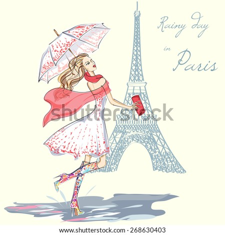 Fashion girl rainy day in Paris hand drawn illustration Background with model - stock vector