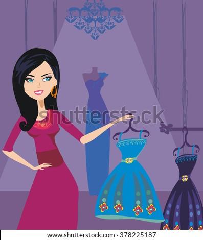 Fashion girl shopping - stock vector