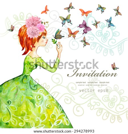 fashion girl with butterflies. watercolor painting. vector illustration - stock vector