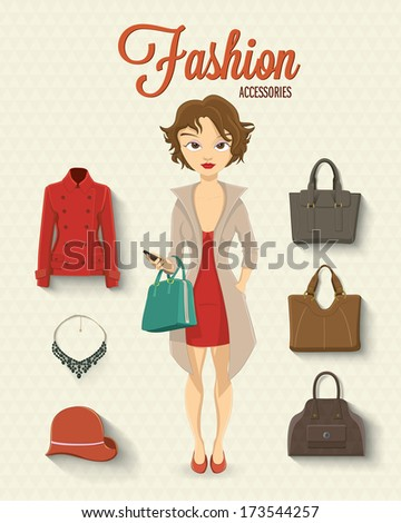 Fashion girl with fashion accessories - stock vector