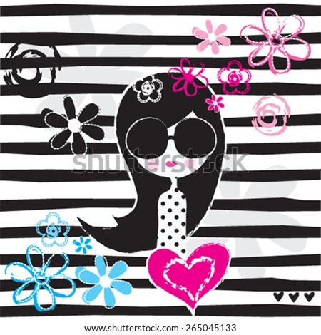 fashion girl with flowers,  T-shirt design, striped background vector illustration - stock vector
