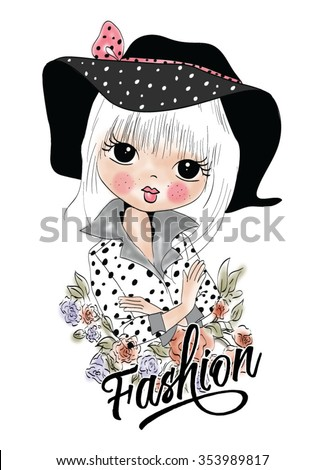 Fashion girl with hat - stock vector