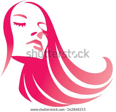 Fashion girl with long red hair. Hairs icon. Beautiful female face - stock vector
