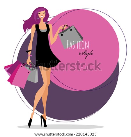 Fashion girl. Woman with shopping bags. Vector illustration. - stock vector