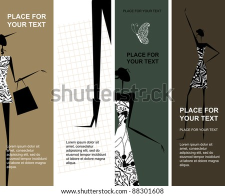 Fashion girls, banners with place for your text - stock vector