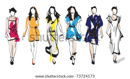 Fashion girls. Sketch. Vector illustration - stock vector
