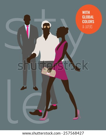 Fashion guys walking with a stylish woman. Vector illustration Eps10 file. Global colors & layers. - stock vector